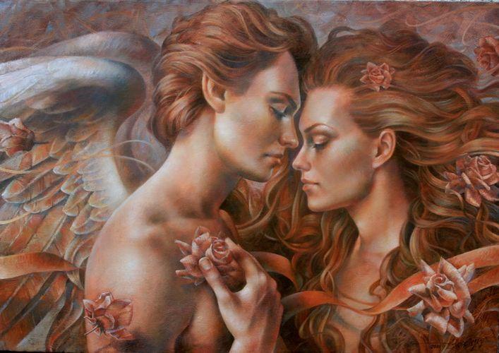"""Канва/ткань с рисунком для вышивания бисером 28х34 см 4029  """"Прикосновение ангела """" ."""